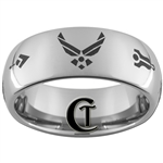 8mm Dome Tungsten Carbide  Masonic Air Force Design.
