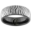 8mm Black Dome Tungsten Carbide Zebra Design
