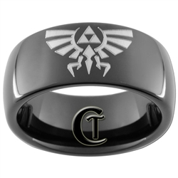 8mm Black Dome Tungsten Carbide Legend Of Zelda Design