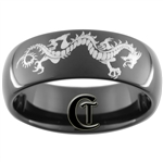 8mm Black Dome Tungsten Carbide Dragon Design