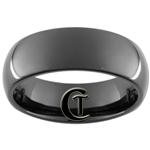 8mm Black Dome Tungsten Carbide Ring