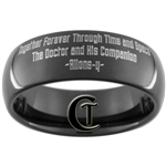 8mm Black Dome Tungsten Carbide Doctor Who Gallifreyan and Quote Design