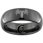 8mm Black Dome Tungsten Carbide Spiderman Design