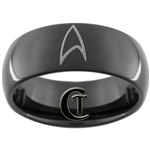 8mm Black Dome Tungsten Carbide Star Trek Design