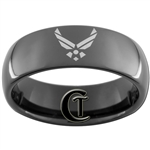 8mm Black Dome Tungsten Carbide Air Force Logo Design.