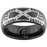 8mm Black Dome Tungsten Carbide Rebel Tire Tread Design Ring.