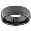 8mm Black Dome Tungsten Carbide Tire Tread Design Ring.
