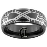 8mm Black Dome Tungsten Tire Tread Confederate Flag Designed Polished Ring.