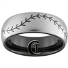 8mm Black Dome Tungsten Carbide Inversed Baseball Stitch Design Ring