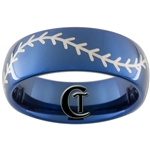 8mm Blue Dome Tungsten Carbide Baseball Stitch Design Ring
