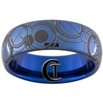 8mm Dome Blue Tungsten Carbide Doctor Who Gallifreyan Design.