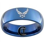8mm Blue Dome Tungsten Carbide Air Force Logo Design.