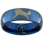 8mm Blue Dome Tungsten Carbide Wolf Design Ring