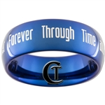 8mm Blue Dome Tungsten Carbide Doctor Who Quote Design