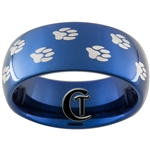 8mm Blue Dome Tungsten Carbide Paw Prints Design Ring