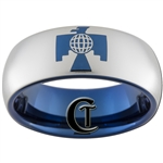 8mm Blue Dome Tungsten Carbide Thunderbird Design Ring