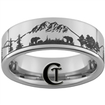 8mm Pipe Tungsten Carbide Bear Scene Design Ring
