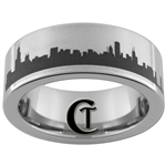 8mm Pipe Tungsten Carbide Chicago Skyline Design