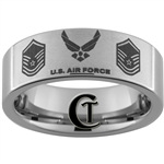 8mm Pipe Tungsten Carbide Satin Finish Air Force Master Sergeant Ring Design.