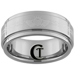 9mm 1 Step Pipe Tungsten Carbide Claddagh Celtic Ring Design