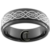 9mm Black 1-Step Pipe Tungsten Carbide Ring with a Celtic Knot Design.
