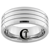 9mm Beveled 3 Groove Tungsten Carbide Ring