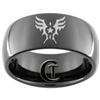9mm Black Dome Tungsten Carbide Air Force Winged Star Design Ring.