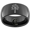 9mm Black Dome Tungsten Carbide Tree Of Life Design