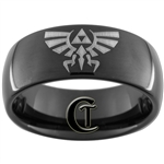 9mm Black Dome Tungsten Carbide Legend Of Zelda Design