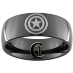 9mm Black Dome Tungsten Carbide Captain America Design