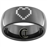 9mm Black Dome Tungsten Carbide Zelda Design