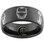 9mm Black Dome Tungsten Carbide Avengers Design