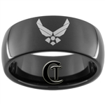 9mm Black Dome Tungsten Carbide Air Force Logo Design.