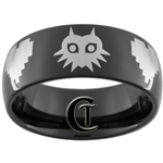 9mm Black Dome Tungsten Carbide Zelda Majora's Mask & 8-Bit Hearts Design