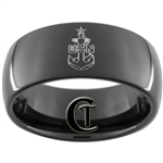 9mm Black Dome Tungsten Carbide Navy Anchor Design.