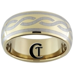 9mm Gold Dome Tungsten Carbide Celtic Design