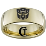 9mm Gold Dome Tungsten Carbide Transformers Autobot Design