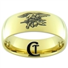 9mm 14Kt Gold Plated Dome Tungsten Carbide Navy Eagle and Trident Design.