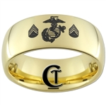9mm 14Kt Gold Plated Dome Tungsten Carbide Marines Sergeant Rank Design.