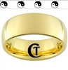 9mm Gold Dome Tungsten Carbide Yin Yang Design