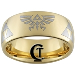 9mm Gold Dome Tungsten Carbide Zelda Skyward Sword Design