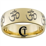9mm Dome Gold Tungsten Carbide Polished OM Designed Ring