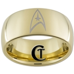 9mm Gold Dome Tungsten Carbide Star Trek Design