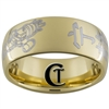 9mm Gold Dome Tungsten Carbide Serenity Kanji Firefly Design