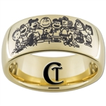 9mm Dome Gold Tungsten Carbide Peanuts Design Ring