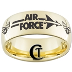 9mm 14Kt Gold Plated Dome Tungsten Carbide Air Force Airman First Class Design.