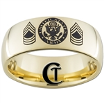 9mm 14Kt Gold Plated Dome Tungsten Carbide Army Master Sergeant Design Ring.