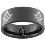 9mm Black Pipe Tungsten Carbide Masonic Design
