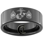 9mm Black Pipe Tungsten Carbide Marines Master Sergeant Rank Laser Design.