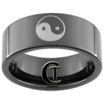 9mm Black Pipe Tungsten Yin Yang Design